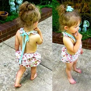 Floral Ruffle Baby Romper